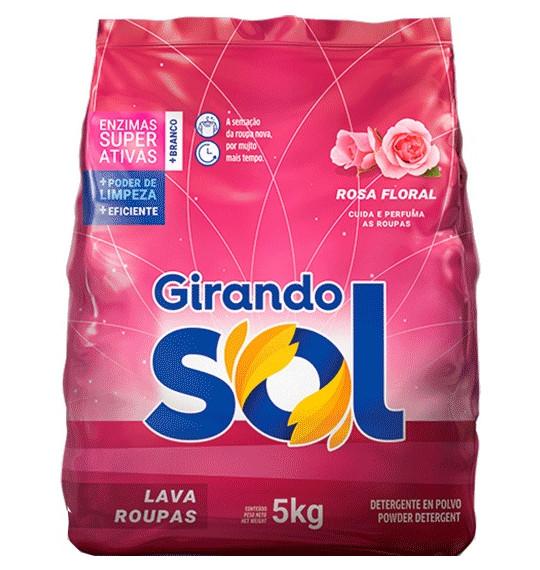 Lava Roupas em Pó 5kg Rosa Floral Girando Sol